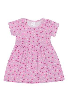 Vestido Menina em Suplex Sublimado Rosa Florido - Liga Nessa