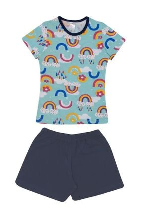 Conjunto Pijama Menina Blusa Verde Claro Rotativo e Shorts Marinho-Kappes