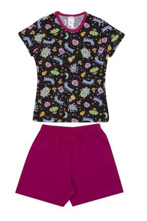 Conjunto Pijama Menina  Blusa Preta Rotativa e Shorts Pink - Kappes
