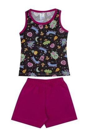 Conjunto Pijama Menina Regata Preta Rotativa e Shorts Pink - Kappes