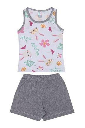 Conjunto Pijama Menina  Regata Branca e Shorts Mescla - Kappes