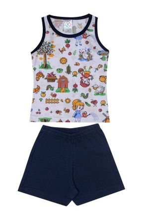 Conjunto Pijama Menina Regata Branca Rotativa e Shorts Marinho - Kappes