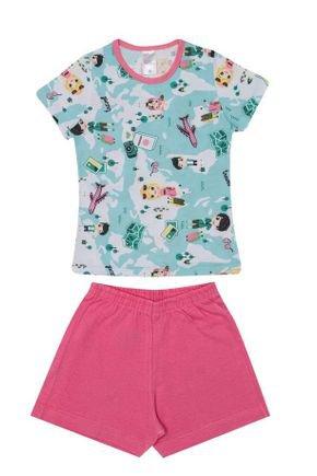 Conjunto Pijama Menina Blusa Verde Rotativo e Shorts Chiclete - Kappes