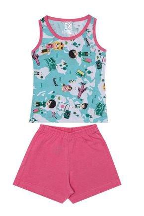 Conjunto Pijama Menina Regata Verde Rotativa e Shorts Rosa - Kappes