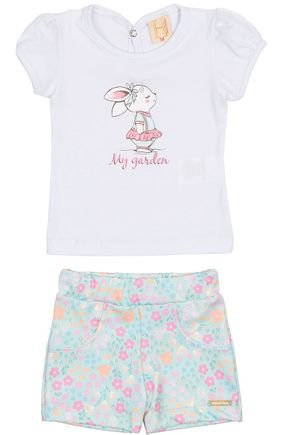 Conjunto Menina Blusa Branco e Shorts Verde Claro Sublimado - Hrradinhos