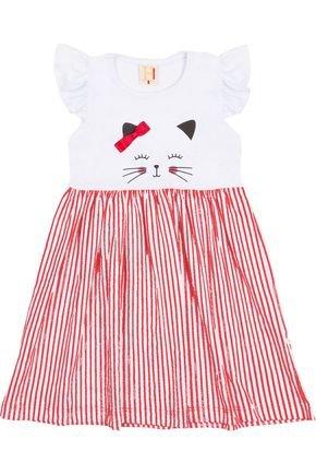Vestido Menina em Meia Malha Branca com Saia Estampada - Hrradinhos