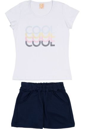 Conjunto Menina Blusa Branca e Shorts em Allure Marinho - Hrradinhos