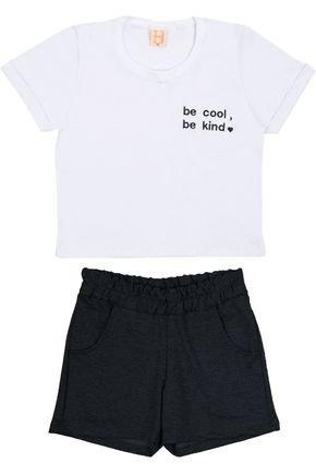 Conjunto Menina Cropped  Branca e Shorts em Moletinho Preto - Hrradinhos