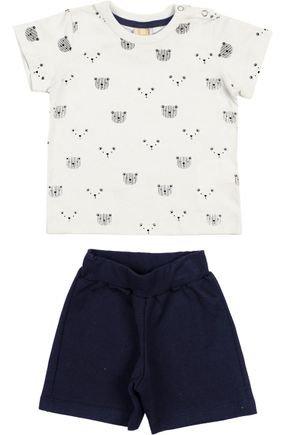 Conjunto Menino Camiseta Off White e Bermuda Marinho - Hrradinhos