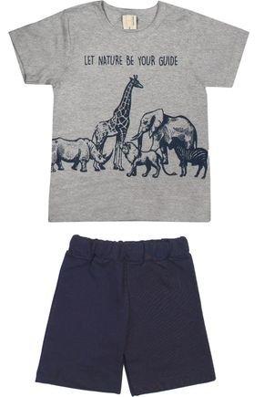 Conjunto Menino Camiseta Mescla e Bermuda Marinho - Hrradinhos