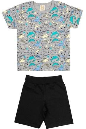 Conjunto Menino Camiseta Mescla Rotativa e Bermuda Preto - Hrradinhos