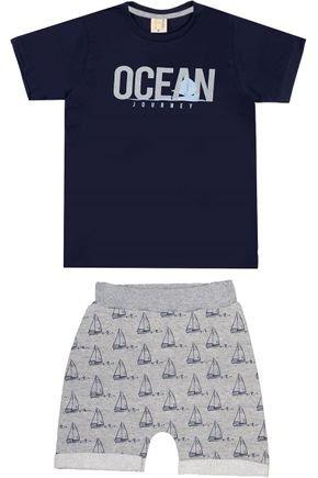 Conjunto Menino Camiseta Marinho e Bermuda Mescla - Hrradinhos