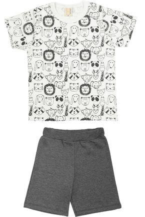 Conjunto Menino Camiseta Off White Rotativa e Bermuda Preto - Hrradinhos