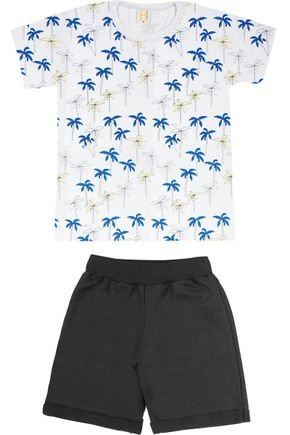 Conjunto Menino Camiseta Branca e Bermuda Preto - Hrradinhos