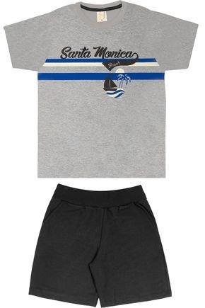 Conjunto Menino Camiseta Mescla e Bermuda Preto - Hrradinhos