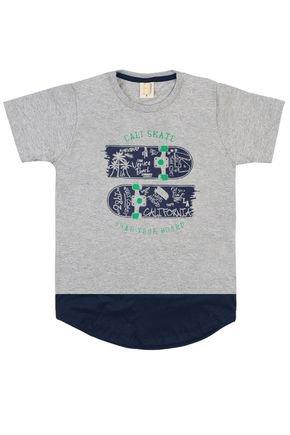 Camiseta Menino em Meia Malha Mescla com Recorte Marinho - Hrradinhos