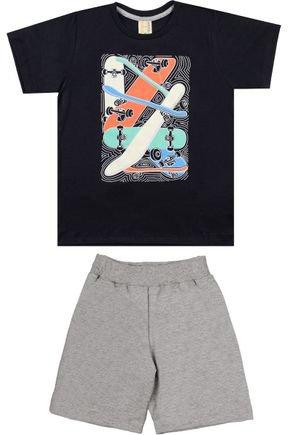 Conjunto Menino Camiseta Preta e Bermuda Mescla - Hrradinhos