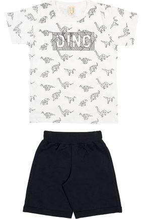 Conjunto Menino Camiseta Off White e Bermuda Preta - Hrradinhos
