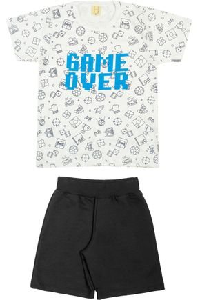 Conjunto Menino Camiseta Off White e Bermuda Preto - Hrradinhos