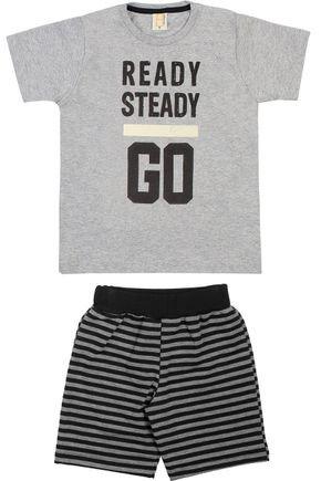 Conjunto Menino Camiseta Mescla e Bermuda Preta - Hrradinhos