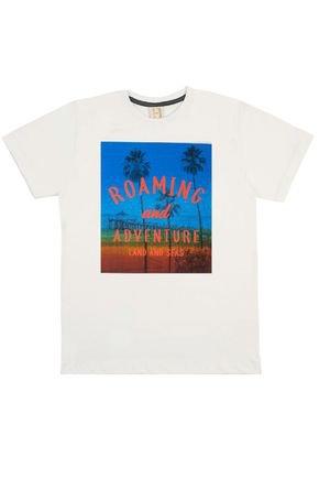 Camiseta Menino em Meia Malha Off White - Hrradinhos