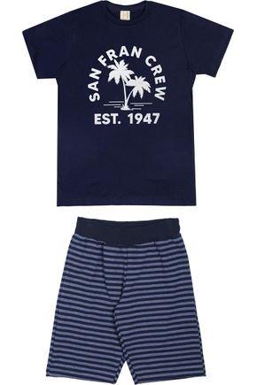 Conjunto Menino Camiseta Marinho e Bermuda Marinho Listrado - Hrradinhos