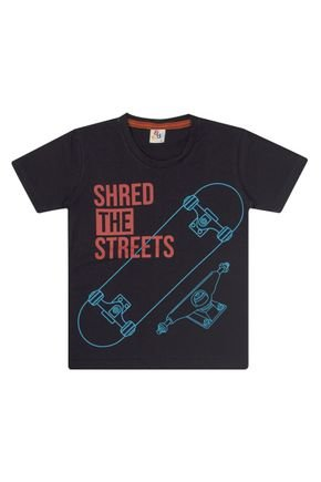 Camiseta Menino em Meia Malha Preta - B Kids