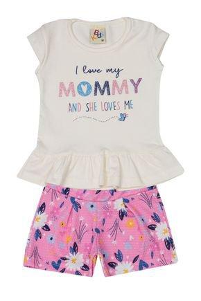 Conjunto Menina Blusa Off White e Shorts em Jacquard Rosa - B Kids