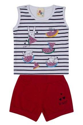 Conjunto Menina em Cotton Regata Branca e Shorts Vermelho - B Kids