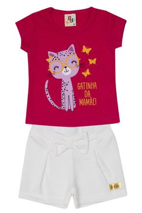 Conjunto Menina Blusa Canelada Pink e Shorts Jacquard Off White - B Kids