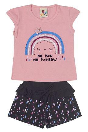 Conjunto Menina Blusa Rosa Claro e Shorts em Cotton Preto Rotativo - B Kids