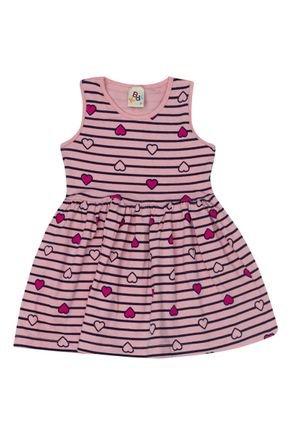 Vestido Menina em Cotton Rosa Rotativo - B Kids