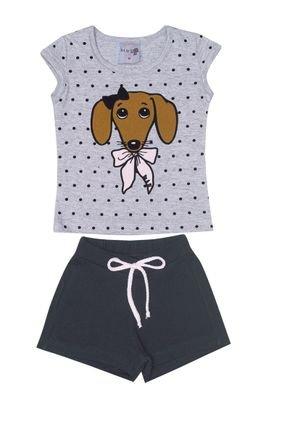 Conjunto Menina Blusa Mescla e Shorts em Cotton Preto - BA & BI