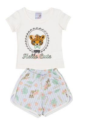 Conjunto Menina Blusa Off White e Shorts Verde Sublimado - BA & BI