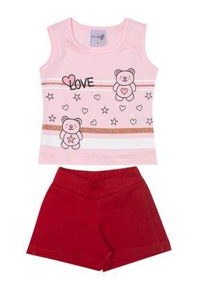 Conjunto Menino Regata Rosa e Shorts em Moletinho Vermelho - BA & BI