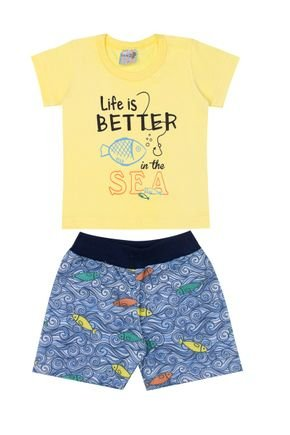Conjunto Menino Camiseta Amarela e Bermuda Sublimado - BA & BI