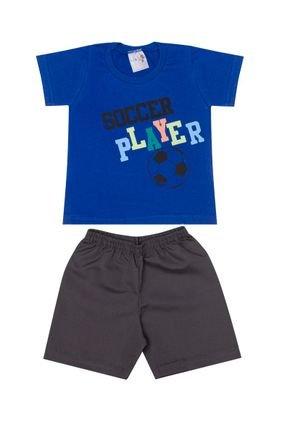 Conjunto Menino Camiseta Royal e Bermuda em Tactel Chumbo - BA & BI