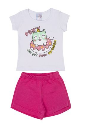 Conjunto Menina Blusa Branca e Shorts em Moletinho Pink - BA & BI