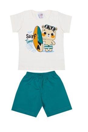 Conjunto Menino Camiseta Off White e Bermuda Verde Claro - BA & BI
