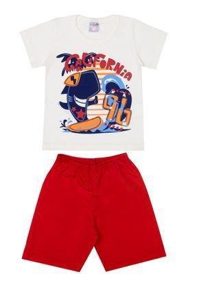 Conjunto Menino Camiseta Off White e Bermuda Vermelha - BA & BI