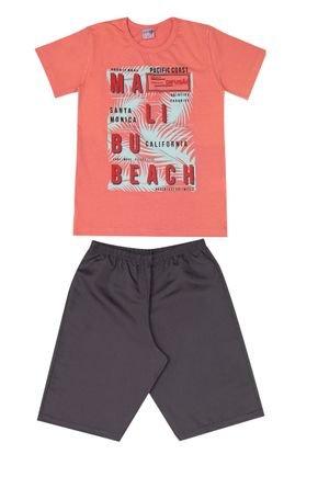 Conjunto Menino Camiseta Salmão e Bermuda Chumbo - BA & BI