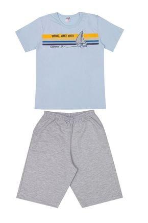 Conjunto Menino Camiseta Azul e Bermuda em Moletinho Mescla - BA & BI