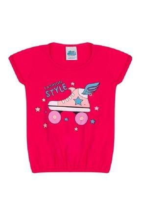 Blusa Menina em Meia Malha Pink - Bicho Bagunça