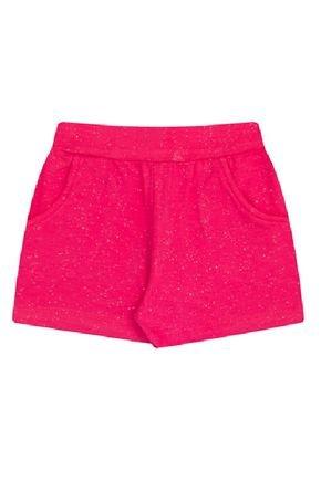 Shorts Menina em Cotton Pink com Brilho - Bicho Bagunça