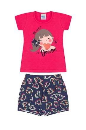 Conjunto Menina Blusa Pink e Shorts Marinho Rotativo - Bicho Bagunça