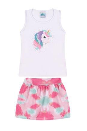Conjunto Menina Regata Branco e Shorts Sai Pink - Bicho Bagunça