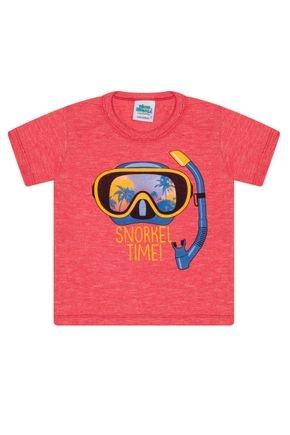 Camiseta Menino em Meia Malha Vermelha - Bicho Bagunça