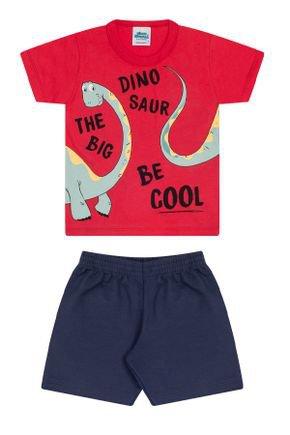 Conjunto Menino Camiseta Vermelha e Bermuda Marinho - Bicho Bagunça