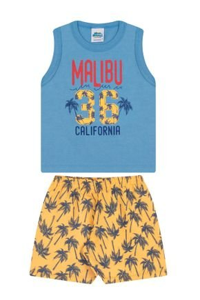 Conjunto Menino Regata Azul e Bermuda  Amarelo Rotativo - Bicho Bagunça