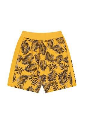Bermuda Menino em Moletinho Amarelo Rotativo - Bicho Bagunça